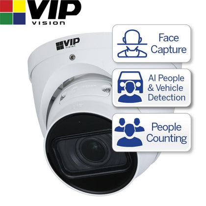 VIP Vision Security Camera: 4MP Turret, Ultimate AI Series, 2.7-12mm