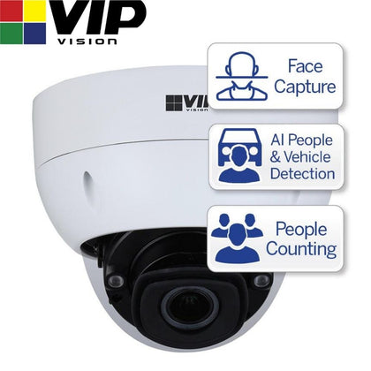 VIP Vision Security Camera: 8MP Dome, Ultimate AI Series, 2.7-12mm