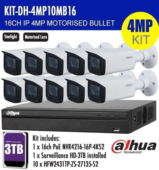 Dahua 16 Channel Security Kit: 8MP NVR, 10 X 4MP Motorised Bullets, 3TB HDD