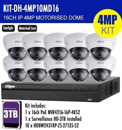 Dahua 16 Channel Security Kit: 8MP (4K) NVR, 10 X 4MP Motorised Dome Cameras, 3TB HDD