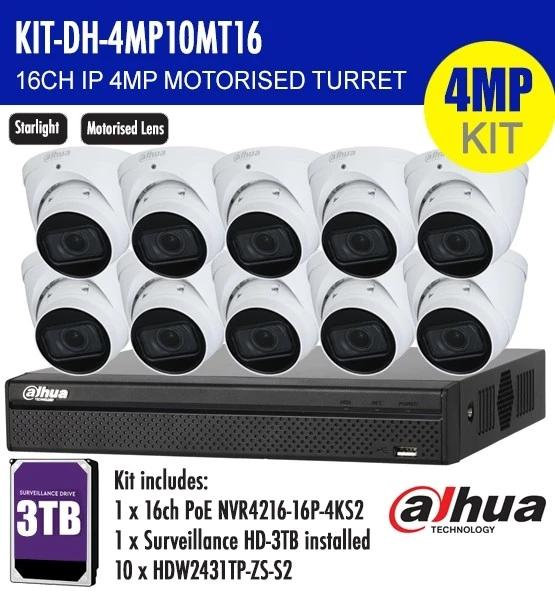 Dahua 16 Channel Security Kit: 8MP (4K) NVR, 10 X 4MP Motorised Turrets, 3TB HDD