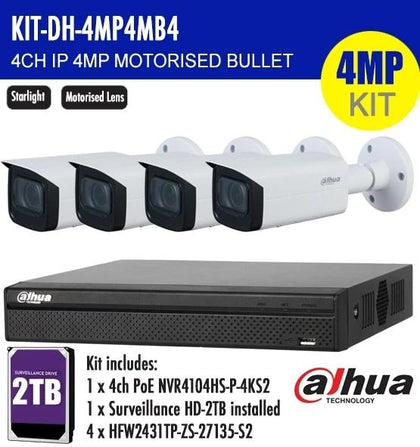 Dahua 4 Channel Security Kit: 8MP (4K) NVR, 4 X 4MP Motorised Bullet, 2TB HDD