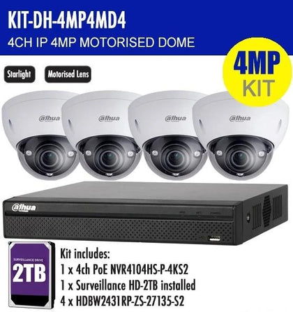 Dahua 4 Channel Security Kit: 8MP (4K) NVR, 4 X 4MP Motorised Dome, 2TB HDD