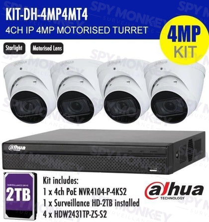 Dahua 4 Channel Security Kit: 8MP (4K) NVR, 4 X 4MP Motorised Turrets, 2TB HDD