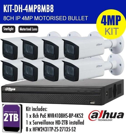 Dahua 8 Channel Security Kit: 8MP (4K) NVR, 8 X 4MP Motorised Bullets, 2TB HDD