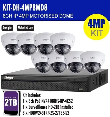 Dahua 8 Channel Security Kit: 8MP (4K) NVR, 8 X 4MP Motorised Dome, 2TB HDD