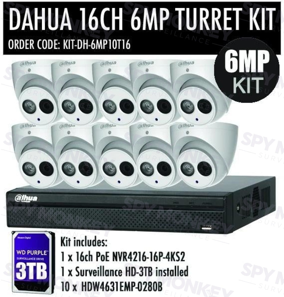 Dahua 16 Channel Security Kit: 8MP(4K Ultra HD) NVR, 10 X 6MP Turret Cameras, 3TB HDD
