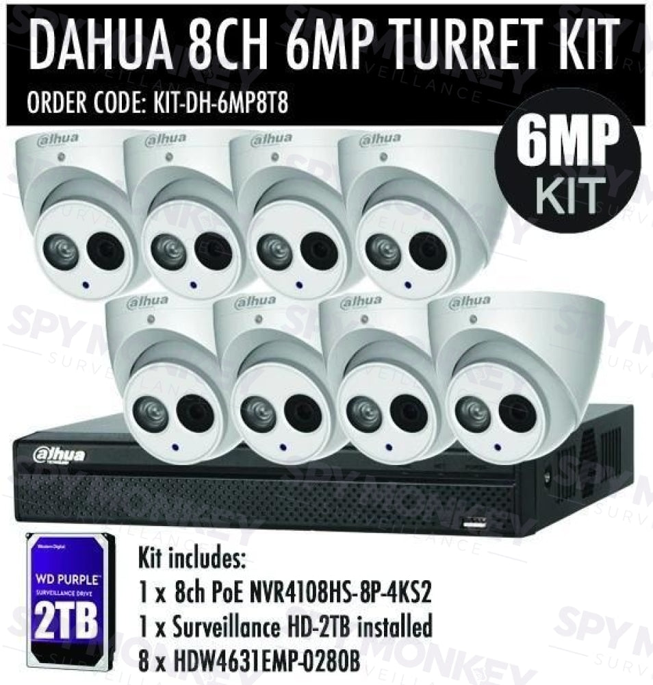 Dahua 8 Channel Security Kit: 8MP (4K Ultra HD) NVR, 8 X 6MP Turret Cameras, 2TB HDD