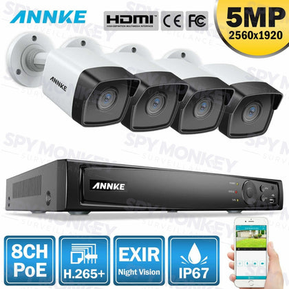 Annke 8 Channel Security Kit: 8MP(4K Ultra HD) NVR, 4 X 5MP Bullet Cameras