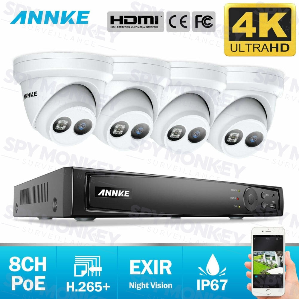 Annke 8 Channel Security Kit: 8MP NVR, 4 X 8MP(4K Ultra HD) Turret Cameras
