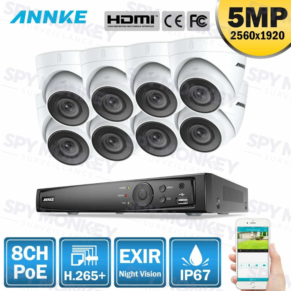 Annke 8 Channel Security Kit: 8MP(4K Ultra HD) NVR, 8 X 5MP Turret Cameras