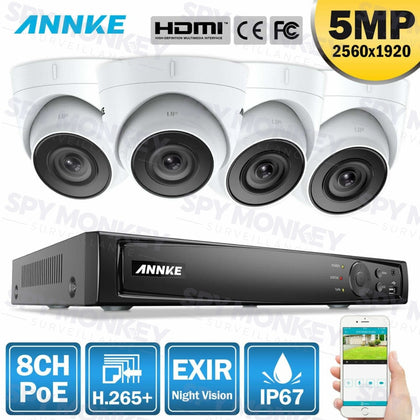 Annke 8 Channel Security Kit: 8MP(4K Ultra HD) NVR, 4 X 5MP Turret Cameras