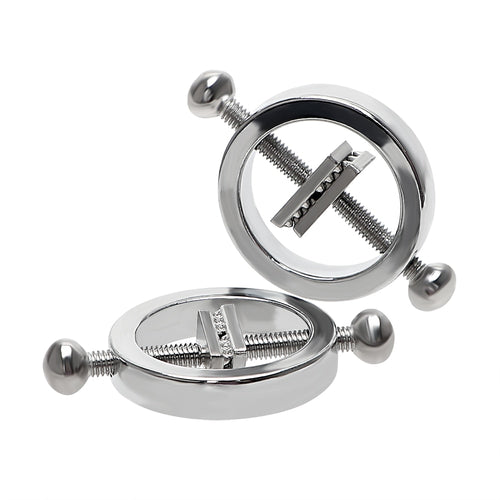 Pair of nipple clamps with screw closure clamp.