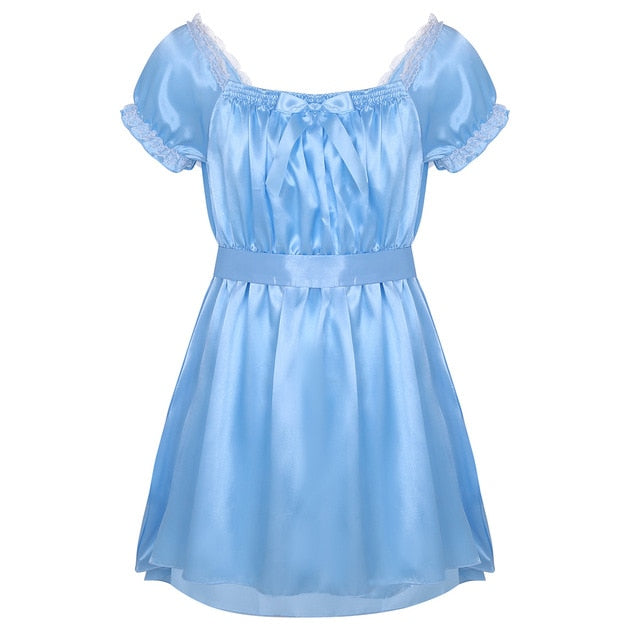 Sissy sating nightgown for gurls men. Pink and baby blue sissy sleepwear.