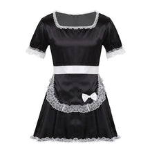 Load image into Gallery viewer, MSemis Men Adults Sissy French Maid Dress Sexy Coslay Costume Crossdressing Sexy Lingerie Lace Hem Silky Satin Dress with Apron