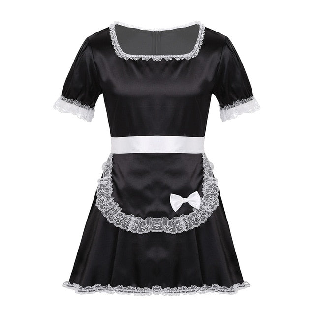 MSemis Men Adults Sissy French Maid Dress Sexy Coslay Costume Crossdressing Sexy Lingerie Lace Hem Silky Satin Dress with Apron