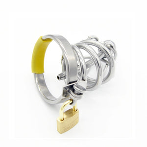 Stainless steel sissy chastity cage with urethral sound