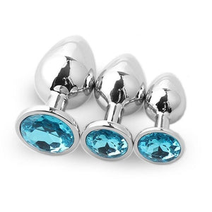 3pcs Set Smooth Metal Butt Plug With Light Blue Crystal
