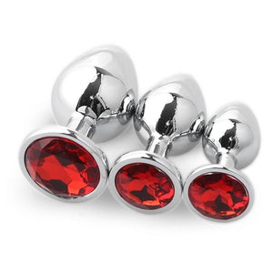 3pcs Set Smooth Metal Butt Plug With Red Crystal