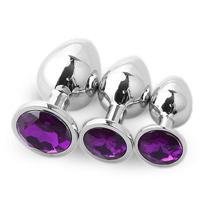 3pcs Set Smooth Metal Butt Plug With Purple Crystal