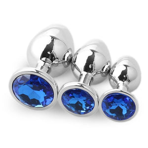 3pcs Set Smooth Metal Butt Plug With  Blue Crystal