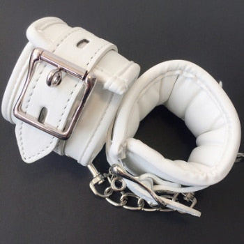 White PU R Handcuffs / Ankle Cuff and Collar