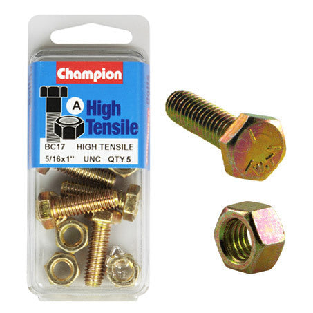 "Champion Fully Threaded Set Screws and Nuts 1"" x 5/16 BC17"