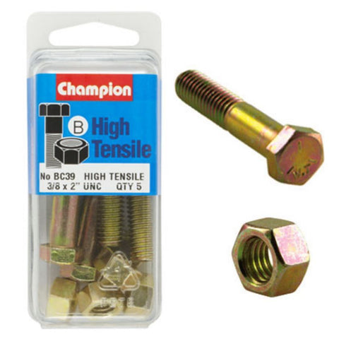 "Champion Bolt and Nuts 2"" x 3/8 BC39"