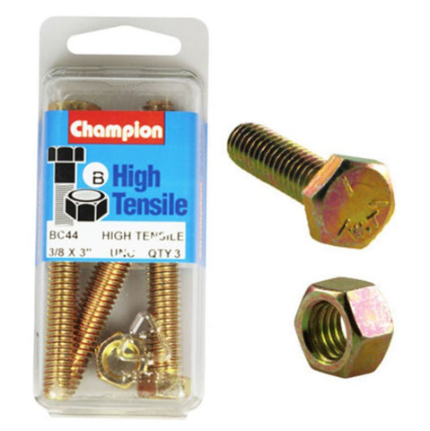 "Champion Fully Threaded Set Screws and Nuts 3"" x 3/8 BC44"