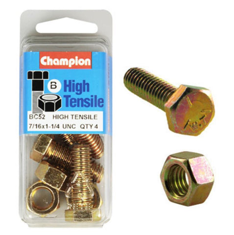 "Champion Fully Threaded Set Screws and Nuts 1-1/4"" x 7/16 BC52"