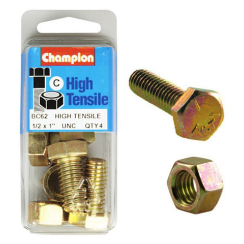 "Champion Fully Threaded Set Screws and Nuts 1"" x ½ BC62"