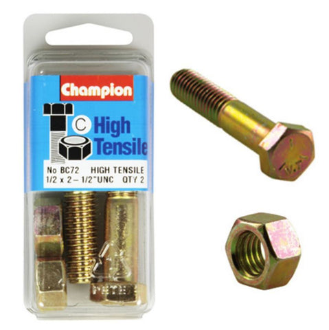 "Champion Bolt and Nuts 2-1/2"" x 1/2 BC72"