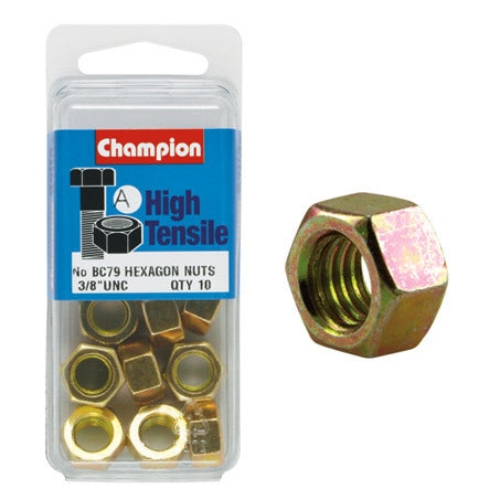 "Champion Hexagon Nuts 3/8  ""-BC79"