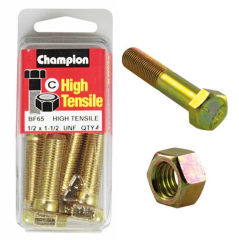 "Champion Bolt and Nuts 1-1/2"" x 1/2  BF65"
