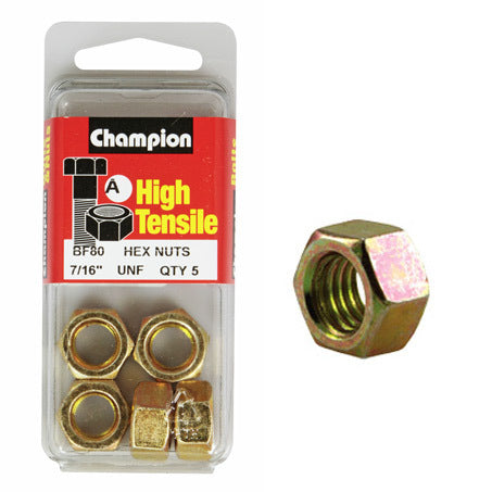 "Champion Hexagon Nuts UNF 7/16 ""-BF80"