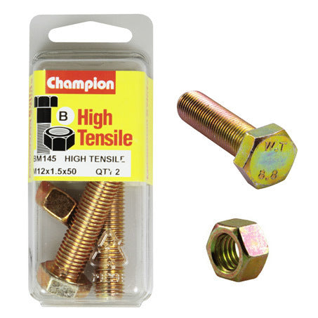 Champion Fully Threaded Set Screws and Nuts 12 x 50 x 1.5 mm- BM145