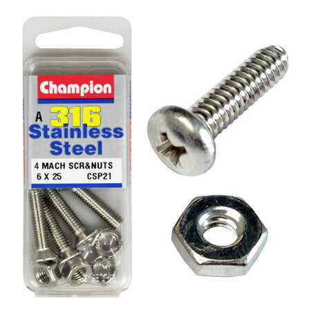 Champion Counter Sunk S/S Screws and Nuts 6mm x 25mm  CSP21