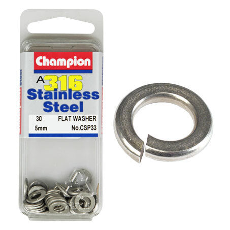 Champion Flat Washers- Fasteners S/S 5mm  CSP33