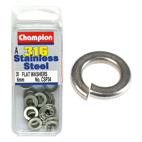 Champion Flat Washers- Fasteners S/S 6mm  CSP34