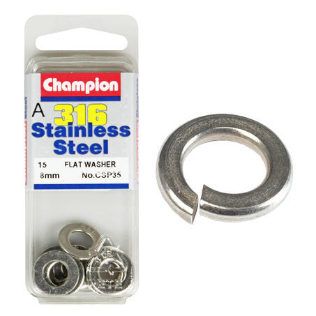 Champion Flat Washers- Fasteners S/S 8mm  CSP35