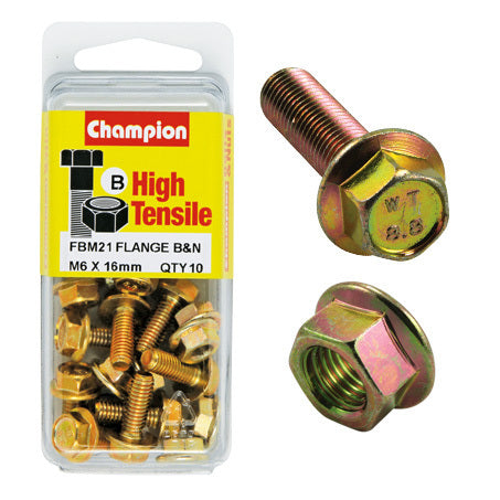 Champion Blister Flange Bolts and Nuts M6 x 16mm-FBM21