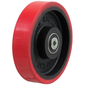 "Richmond Red Poly 200mm Tyred Cast Iron Centred Wheel 1"" Bore PU876-1"