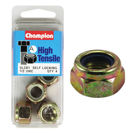 "Champion Blister Nyloc-Self Locking Nuts 1/2 ""-SLC81"