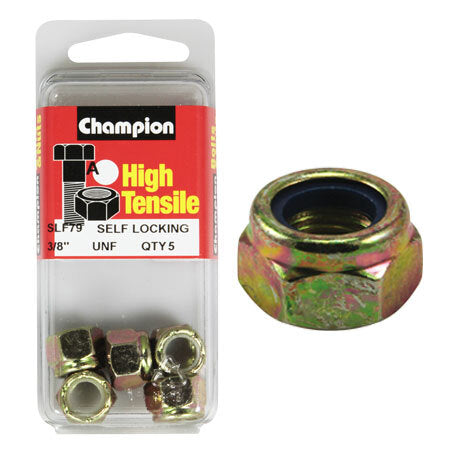 "Champion Blister Nyloc-Self Locking Nuts 3/8""-SLF79"