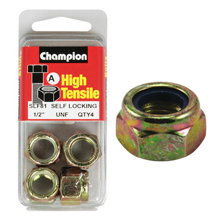 "Champion Blister Nyloc-Self Locking Nuts 1/2""-SLF81"