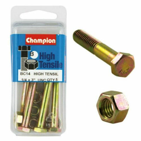 "Champion Bolt and Nuts 3"" x 1/4  BC14"