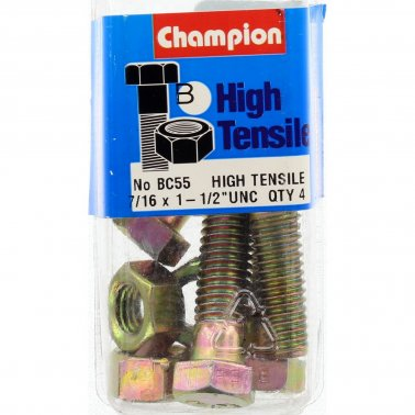 "Champion Bolt and Nuts 1-1/2"" x 7/16 BC55"