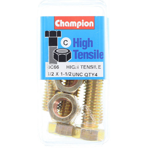 "Champion Fully Threaded Set Screws and Nuts 1-1/2"" x 1/2 BC66"