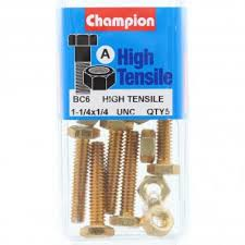 "Champion Fully Threaded Set Screws and Nuts 1-1/4"" x 1/4 BC6"