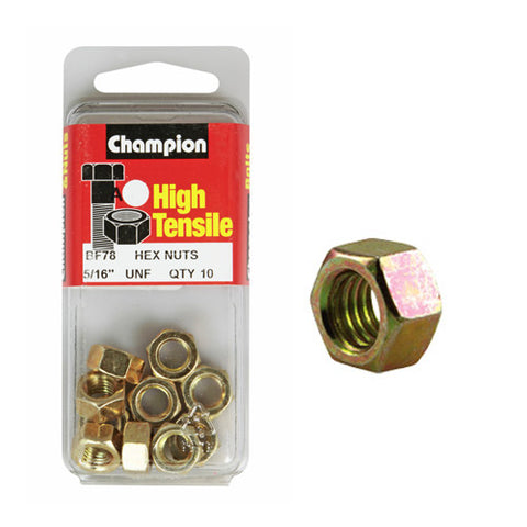 "Champion Hexagon Nuts 5/16  ""-BC78"